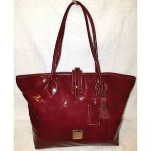 Extra large cranberry patent leather tote handbag
